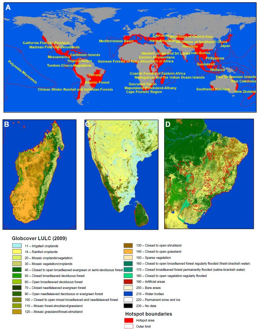 Notes: (A) Global biodiversity hotspot distribution; (B) Distribution of  natural areas in Madagascar as in 2009; (C) land use and land cover in  Western ...